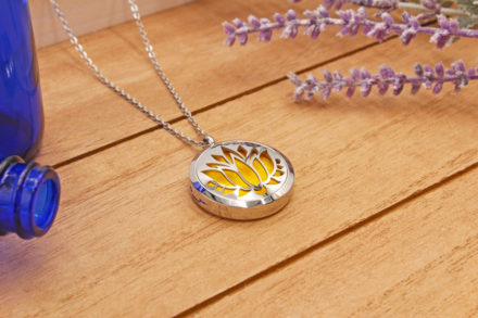necklace on wood